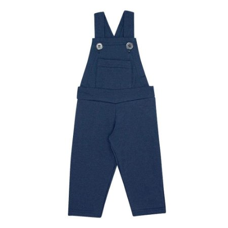 Jardineira Bebê Longa Moletom Azul Marinho (1/2/3) - Kontrato