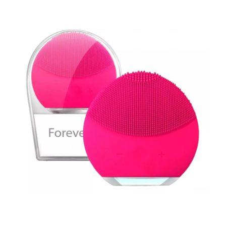 Esponja De Limpeza Facial Forever Massageadora De Silicone Pink