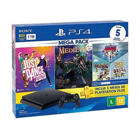 Console PlayStation 4 Slim 1TB + 5 Jogos + 3 Meses Playstation Plus (Bundle Hits 11) - Sony