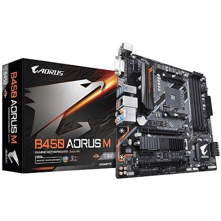 Placa-mãe Gigabyte Aorus B450 Aorus M, AMD AM4, mATX, DDR4