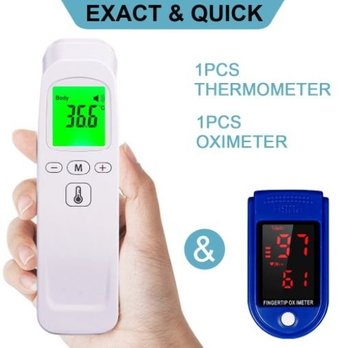 Kit Termômetro infravermelho digital + oxímetro de dedo digital