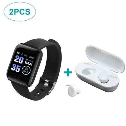 Kit de Fone de Ouvido Bluetooth Y30 e Smartwatch 116 Plus