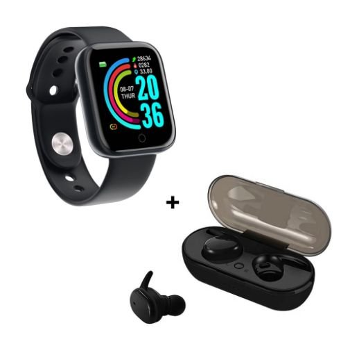 Kit de Fone de Ouvido Bluetooth Y30 e Smartwatch Y68