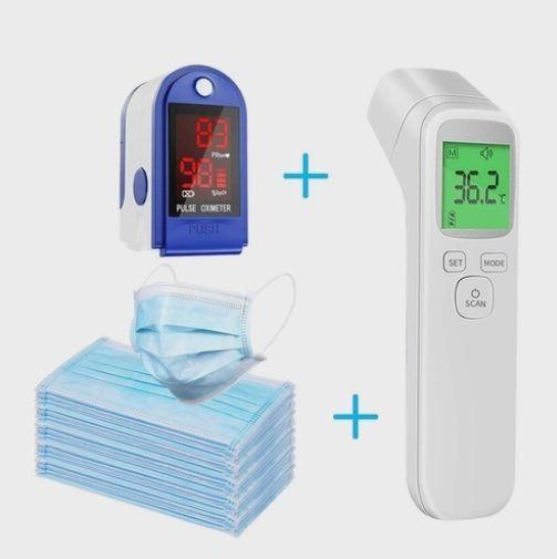 Super Kit Termometro Infravermelho + Oxímetro + 50 máscaras