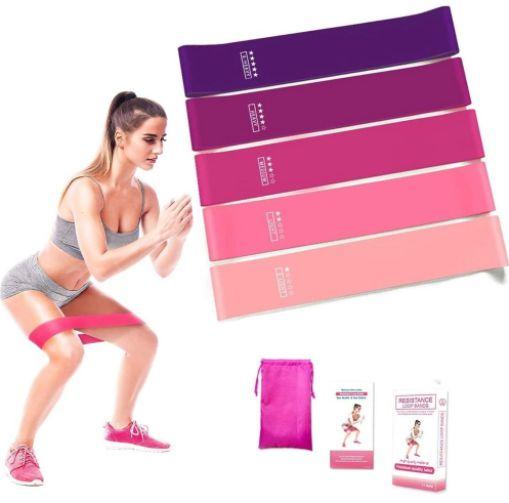 Kit de 5 Peças Faixa de Resistência Mini Bands Elásticas de Resistência Exercícios de Pilates Látex com 5 Intensidades Treinamento de Força Glúteo Fitness e Musculação