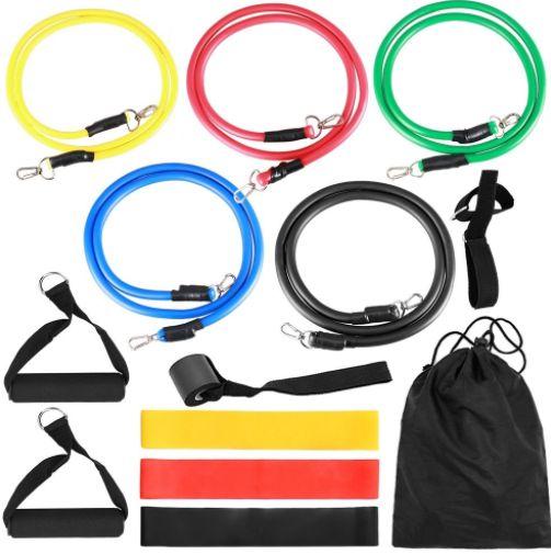 Kit completo para exercícios 14 peças de elásticos e extensores para exercícios
