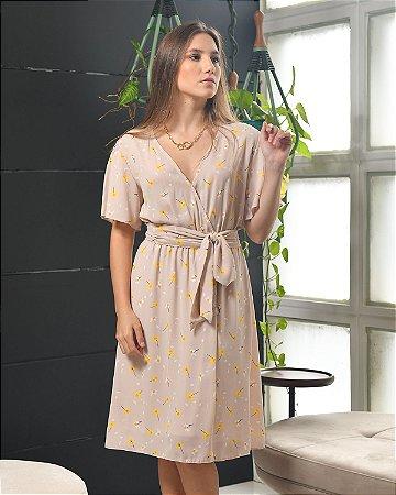 Vestido VALENTINA Manga Traspasse Crepe Mousse