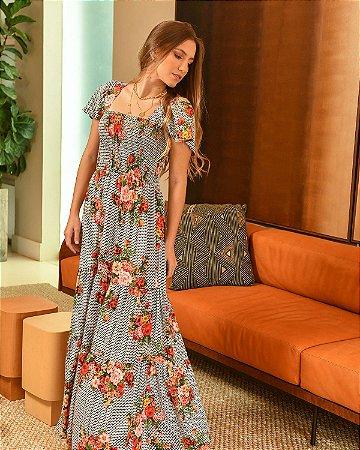 Vestido Longo LUARA Lastex Crepe Mousse Floral