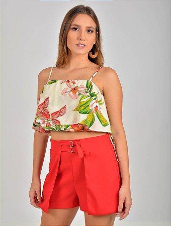 Blusa Cropped Alcinha Viscose Floral