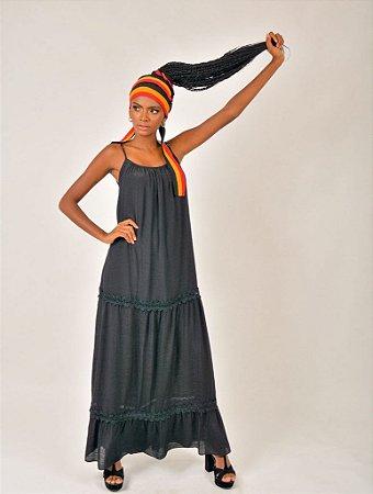 Vestido Longo Camadas Faixa Color