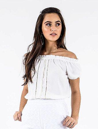 Blusa Cropped Ciganinha Pérolas