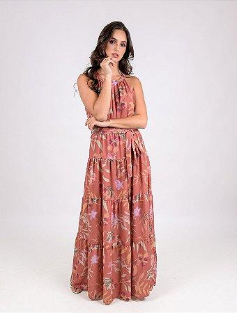 Vestido Longo Camadas Floral