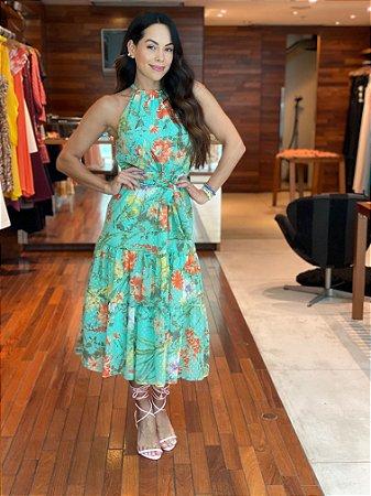 Vestido Voal Floral Camadas
