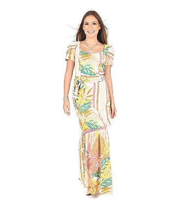 Vestido Longo Viscose Floral Manguinha