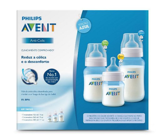 Kit Mamadeiras Anti-Colic Azul - Philips Avent
