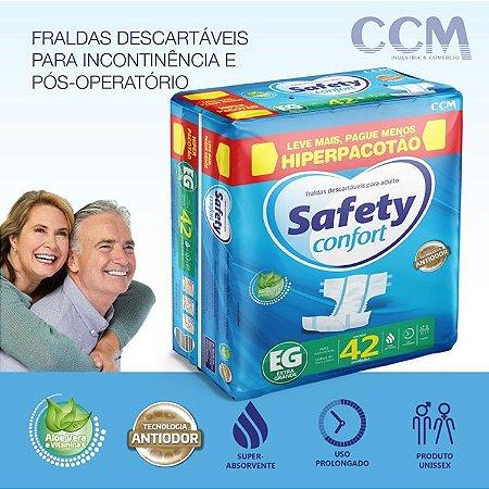Fraldas Descartáveis Adulto Safety Confort HIPERPACOTÃO - Tamanho EG - 42 Unidades