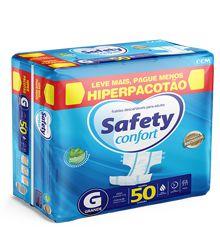 Fraldas Descartáveis Adulto Safety Confort HIPERPACOTÃO - Tamanho G - 50 Unidades
