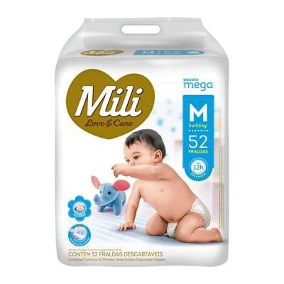 Fralda Mili Love & Care - Tamanho M - 52 unidades