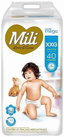 Fralda Mili Love & Care - Tamanho XXG - 40 Unidades