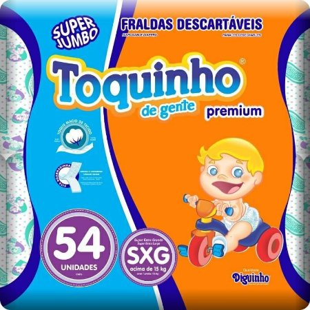 Fralda Toquinho Premium Tamanho SXG Com 54 unidades
