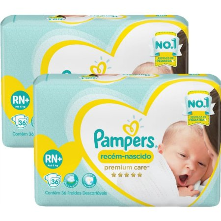 Fralda Pampers Premium Care Recém Nascido - Tamanho RN+ - 36 Unidades