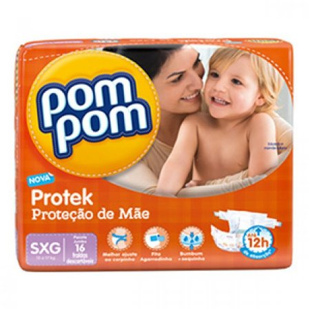 Fralda Pom Pom Protek Baby Tamanho SXG - 16 Unidades