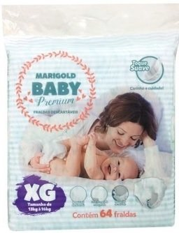 Fralda Marigold Baby Premium - Tamanho XG - 56 unidades