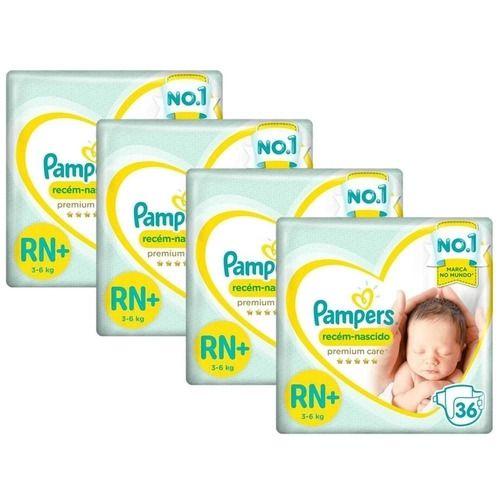 Kit Fralda Pampers Premium Care RN+ com 144 unidades - 3 à 6 Kg