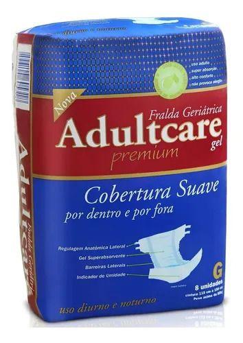 Fralda Geriátrica Adultcare Premium G com 08 unidades