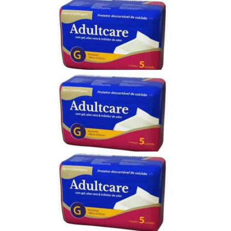 Protetor Descartável De Colchão Adultcare G C/5 (Kit C/03)
