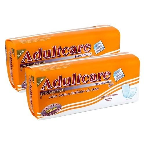 Absorvente Geriátrico Adultcare Premium Unissex 40 Unidades Kit 2 Pacotes