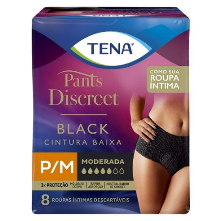 ROUPA ÍNTIMA TENA PANTS DISCREET BLACK P/M