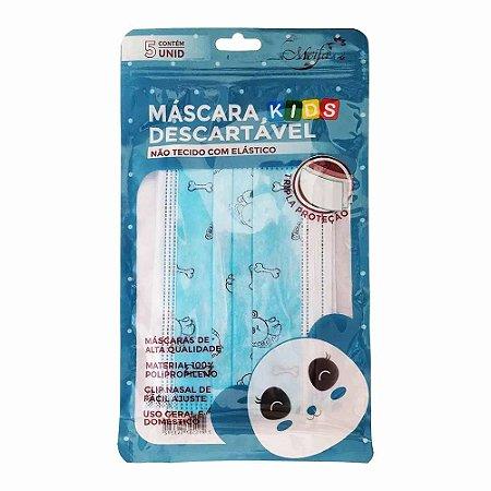 Máscara Kids Descartável Azul c/ 5 unid - Meifa