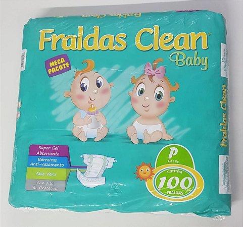 Fralda Infantil Clean Baby Tam P com 100 unid