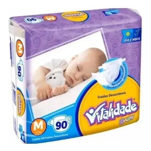 Kit Fralda Vitalidade Baby Mega M 270 unid - 3 Pacotes