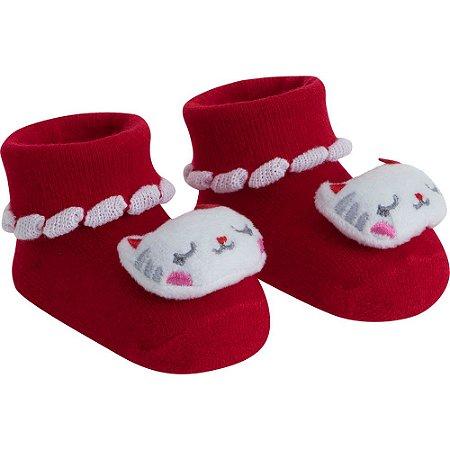 Meia infantil bichinhos RN feminino Pimpolho - VERMELHO/GATA