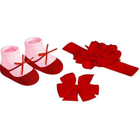 Kit infantil meia faixa e presilha feminino Pimpolho - VERMELHO