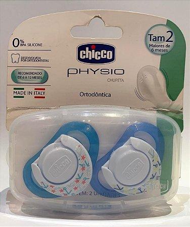 Kit 2 Chupetas Chicco Physio Ortodôntica Azul Tam. 2