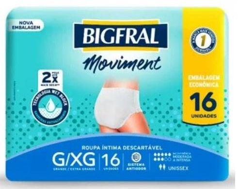 Roupa Íntima Descartável Bigfral Moviment c/16 unidades