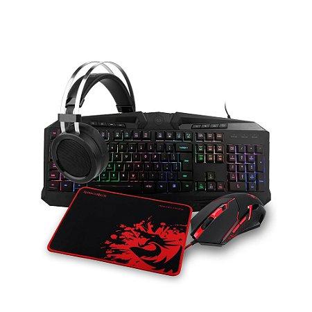 Kit Gamer Redragon Teclado, Mouse, Headset e Mousepad - S112
