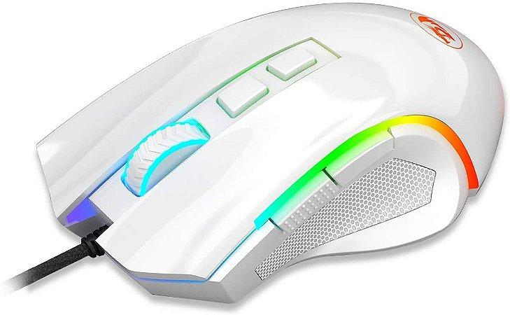 Mouse Gamer Redragon Griffin, RGB, Branco Lunar 7200 DPI - M607W