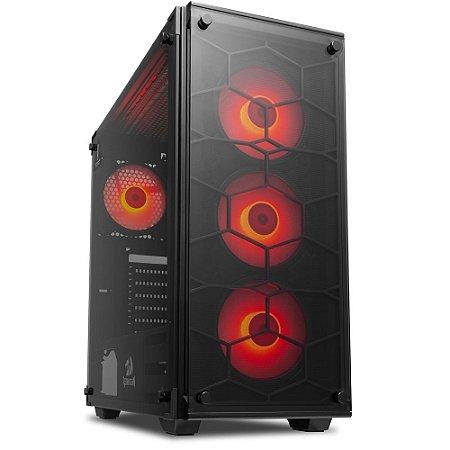 Gabinete Gamer Redragon Wheel Jack, C/ 3 Cooler Red - GC-606BK-R