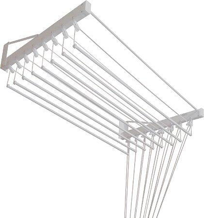 Varal de Parede  Individual com 1,00 metro x 10 Varetas em Alumínio