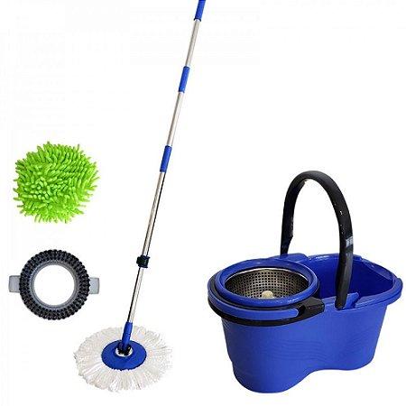 Balde espremedor com mop 16L cesto inox azul - Mop Pro