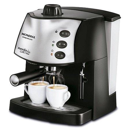 Cafeteira expresso 15 Bar preta e prata - Coffee Cream C-08 110V