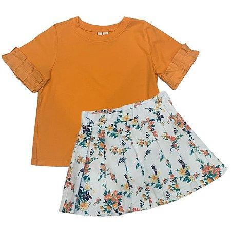 JANIE AND JACK conjunto blusa de malha laranja saia gorgorão branca estp flores 8 anos