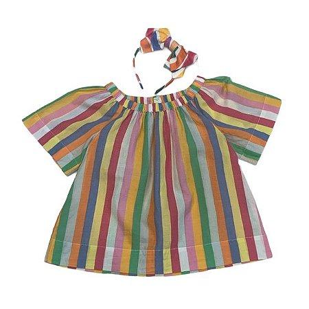 CREWCUTS bata algodão listras coloridas c arco 6-7 anos