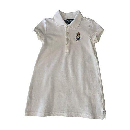 RALPH LAUREN camisa polo branca fem BEAR 2 anos