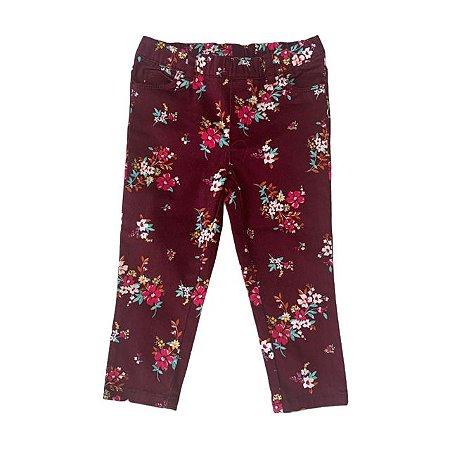 CARTERS calça sarja vinho estp flores tipo legging 24 meses