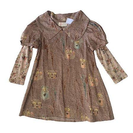FÁBULA vestido bichos floresta c manga longa de malha 4 anos